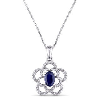 Miadora 10k White Gold Oval-Cut and 1/7ct TDW Diamond Sapphire Open Flower Necklace (G-H, I1-I2)