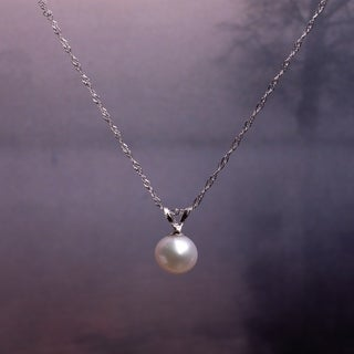 Miadora 14k White Gold Cultured Freshwater Pearl Drop Necklace (6.5-7mm)