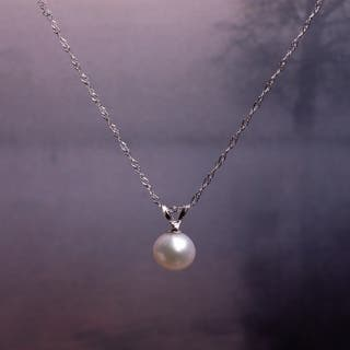 Miadora 14k White Gold Cultured Freshwater Pearl Drop Necklace (6.5-7mm)|https://ak1.ostkcdn.com/images/products/13434044/P20125889.jpg?impolicy=medium