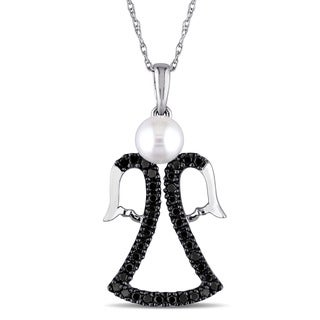 Miadora 10k White Gold Cultured Freshwater Pearl and 3/8ct Black Diamond Dangling Angel Necklace (5-5.5mm)