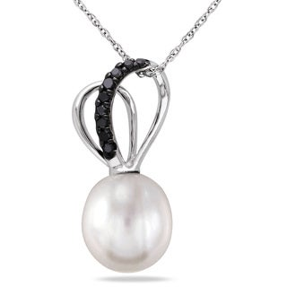 Miadora 10k White Gold Cultured Freshwater Pearl and 1/10ct TDW Black Diamond Double Loop Necklace (9.5-10mm)