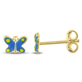 Miadora 18k Yellow Gold Blue and Yellow Enamel Coated Butterfly Children's Stud Earrings