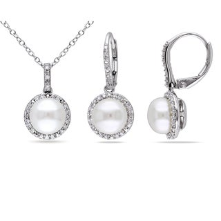 Miadora Sterling Silver Cultured Pearl 1/3ct TDW Diamond Halo Dangle Necklace and Leverback Earrings Set (G-H,I2-I3) (8-8.5mm)