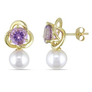 Miadora 10k Yellow Gold Cultured Freshwater Pearl and Amethyst Flower Drop Earrings (9.5-10mm)