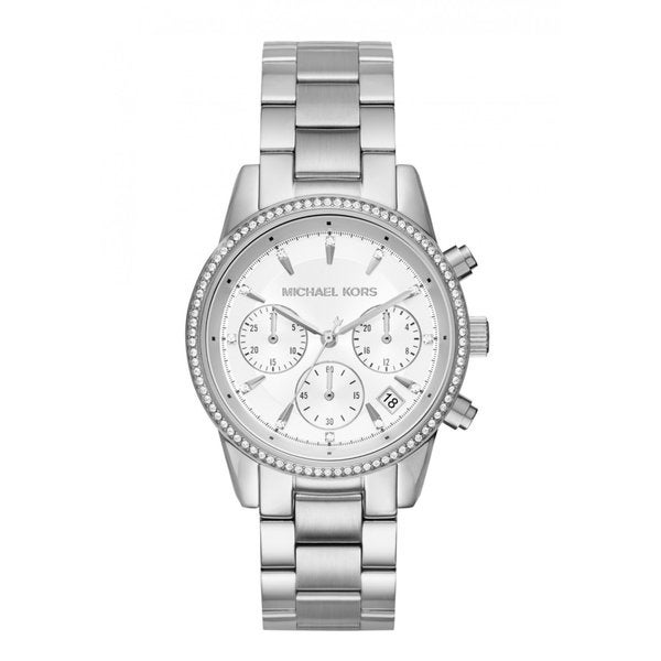 Michael Kors Women's Ritz Chronograph Silver Dial Stainless Steel Bracelet Watch
