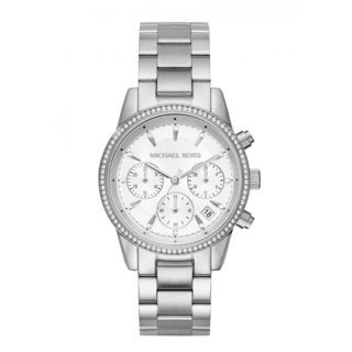 Michael Kors Women's MK6428 Ritz Chronograph Silver Dial Stainless Steel Bracelet Watch