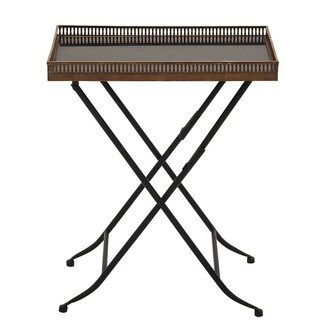 Urban Designs Gallery Collection Black Metal and Marble Accent Rectangle Tray Table