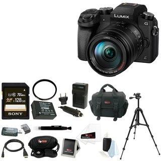 Panasonic LUMIX G7 Camera with 14-140mm Lens (Black) + 128GB SDXC Accessory Bundle