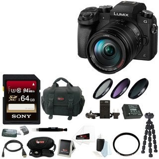 Panasonic LUMIX G7 Camera with 14-140mm Lens(Black) + 64GB SDXC + Accessory Bag