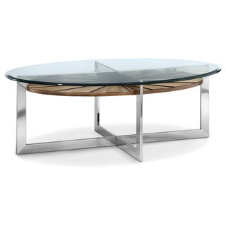 Magnussen Rialto Acacia and Pine Veneer Wood, Brushed Nickel Metal, and Glass Oval Cocktail Table