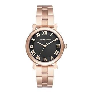 Michael Kors Women's MK3585 Norie Black Dial Rose Gold-Tone Stainless Steel Bracelet Watch