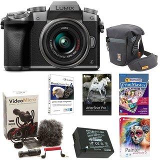 Panasonic LUMIX G7 Interchangeable Lens (DSLM) Camera w/ 14-42mm Lens (Silver) & Camera Mic & Accesory Bundle
