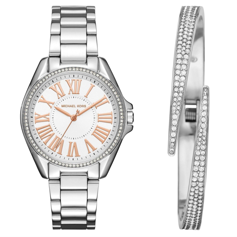 Michael Kors Womens MK3567 Kacie White Dial Stainless Steel Bracelet Watch And Bracelet Set MK3567