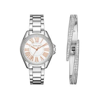 Michael Kors Women's MK3567 Kacie White Dial Stainless Steel Bracelet Watch And Bracelet Set