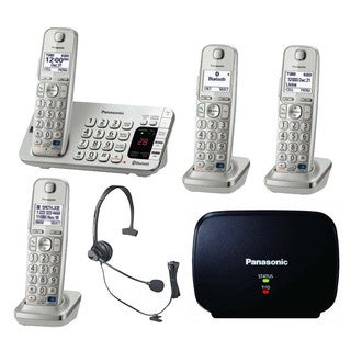 Panasonic Link2Cell Bluetooth KX-TGE274S 4 Handsets Corldess Phone with headset and range extender, Silver