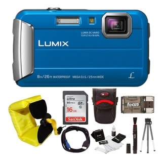 Panasonic Lumix DMC-TS30 Digital Camera (Blue) with 16GB Accessory Bundle