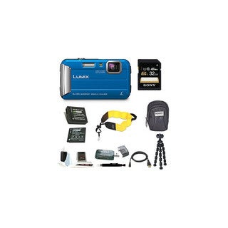 Panasonic Lumix DMC-TS30 Digital Camera (Blue) with 32GB Accessory Bundle