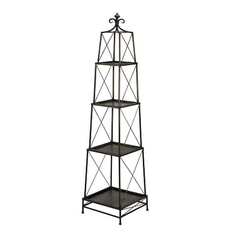 4-tier Gunmetal Metal Obelisk Stand