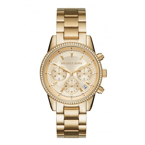Michael Kors Women's Ritz Chronograph Gold Dial Gold-Tone Stainless Steel Bracelet Watch