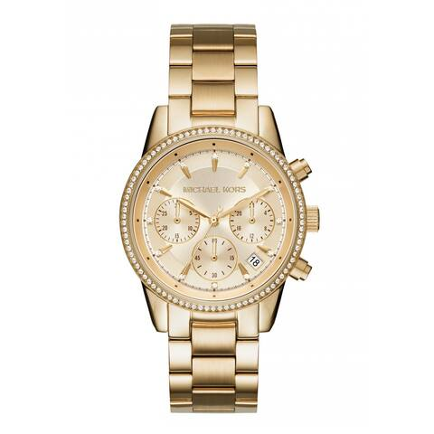 57d15aa5964e Michael Kors Women s MK6356 Ritz Chronograph Gold Dial Gold-Tone Stainless  Steel Bracelet Watch