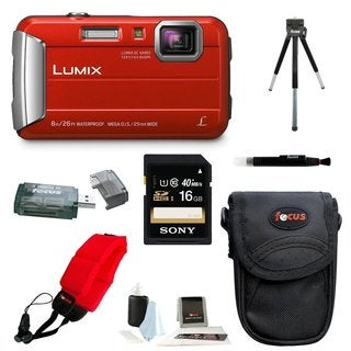 Panasonic Lumix DMC-TS30 Digital Camera (Red) with 16GB Accessory Bundle
