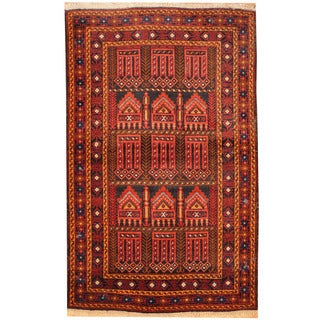 Herat Oriental Afghan Hand-knotted Balouchi Wool Rug (3'1 x 5')