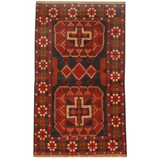 Herat Oriental Afghan Hand-knotted Balouchi Wool Rug (2'8 x 4'7)