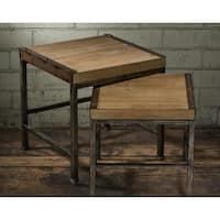 Grey Metal and Wood Nesting Side Tables (Set of 2)