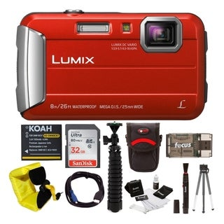 Panasonic Lumix DMC-TS30 Digital Camera (Red) with 32GB Accessory Bundle