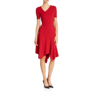 Elie Tahari Women's Dariah Red Nylon and Viscose Handkerchief Hem Dress