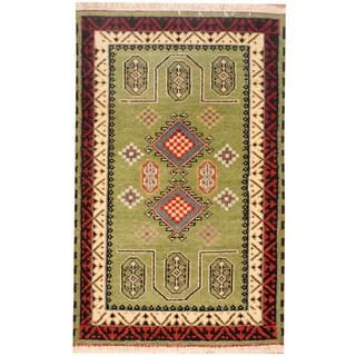 Herat Oriental Indo Hand-knotted Tribal Kazak Wool Rug (3' x 4'10)