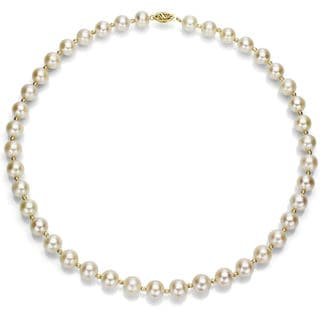 DaVonna 14k Yellow Gold 9-10 mm White Freshwater Pearl Necklace with Sparkling Beads, 18""