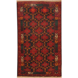 Herat Oriental Afghan Hand-knotted Balouchi Wool Rug (2'8 x 4'8)