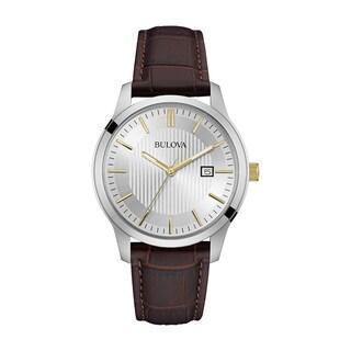 Bulova Men's 98B266 Classic Silver Dial Brown Leather Strap Watch