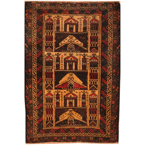 Handmade One-of-a-Kind Balouchi Wool Rug (Afghanistan) - 3' x 4'2