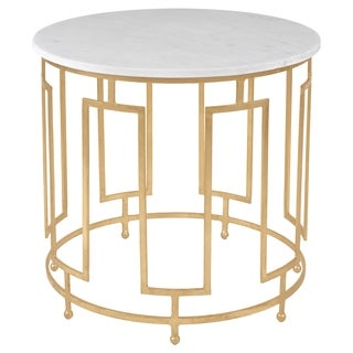 Safavieh Couture High Line Collection Caldwell White Marble Gold Leaf Accent Table