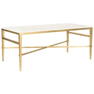 Safavieh Couture High Line Collection Acker White Marble Antique Gold Gilt Cocktail Table