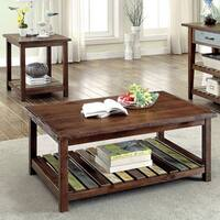 Furniture of America Katrine Country Style 2-Piece Slatted Brown Cherry Accent Table Set