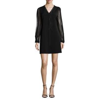 Elie Tahari Pencey Black Long-sleeve Dress