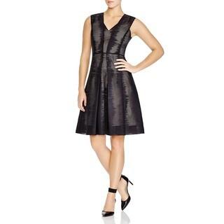 Elie Tahari Women's Carrie Black Cotton Pleated Sheer Dress