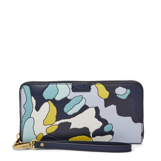 Fossil Emma Multicolor Leather Zippered Clutch Wallet