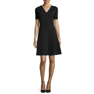 Elie Tahari Maria Black Spandex Fit-and-flare Scuba Dress