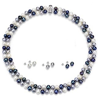 DaVonna Sterling Silver 2 rows 6-7mm Multidark Freshwater Pearl Necklace, and 3pairs Earrings Set