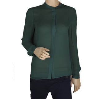 Elie Tahari Woman's Chelsea Dark Green 100-percent Silk Blouse