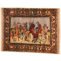 Handmade Herat Oriental Semi-Antique 1960's Afghan Pictorial Turkoman Wool Rug - 3'8 x 4'8 (Afghanistan)