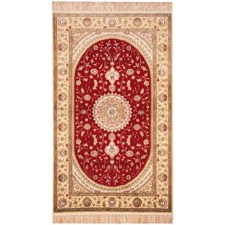 Herat Oriental Indo Hand-knotted Kashmir Silk Rug (3' x 5')