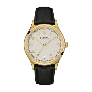 Bulova Men's Gold-Tone Case Watch, Black Leather Strap 97B147