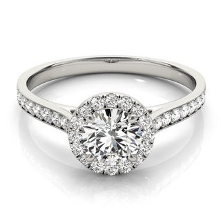 Transcendent Brilliance 14k Gold Classic Halo 3/4 TDW Diamond Engagement Ring