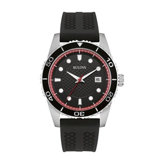 Link to Bulova Men's  Black Silicone Strap Watch Similar Items in Men's Watches