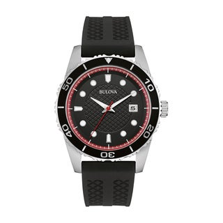 Bulova Men's 98B260 Black Silicone Strap Watch